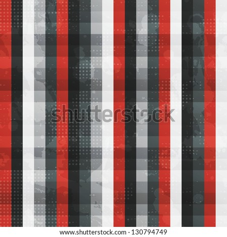 abstract red lines seamless texture with grunge effect - stock vector