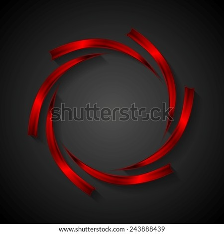 Abstract red metal logo design. Vector background - stock vector