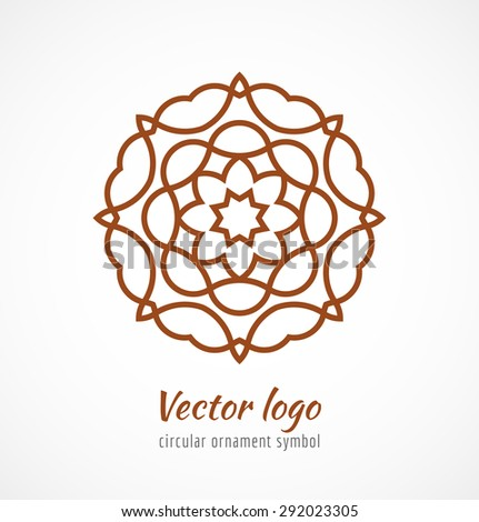 Abstract red outline ornament symbol logo. Vector illustration - stock vector