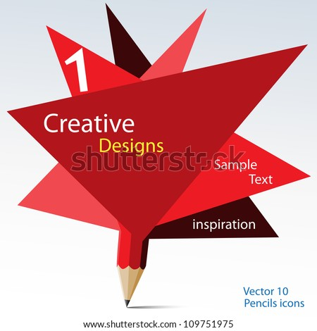 Abstract red pencil design with paper blank vector. - stock vector