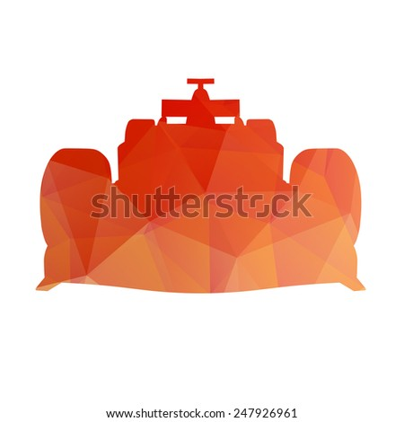 Abstract red race car - stock vector