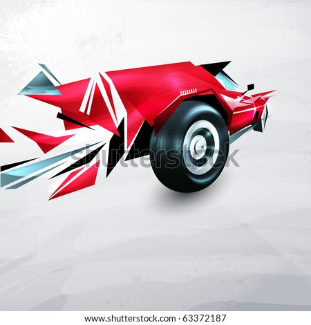 abstract red racing car painted with graffiti - stock vector
