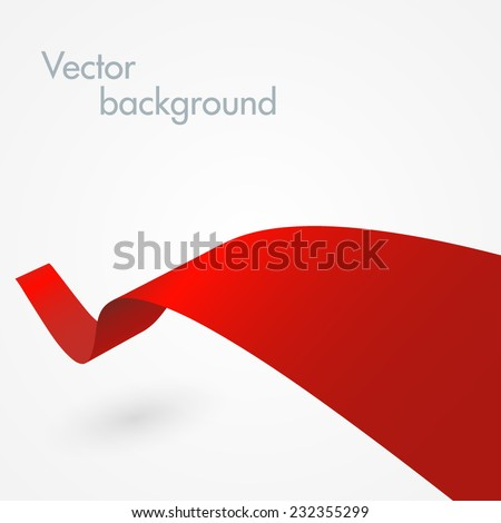 Abstract red ribbon - stock vector