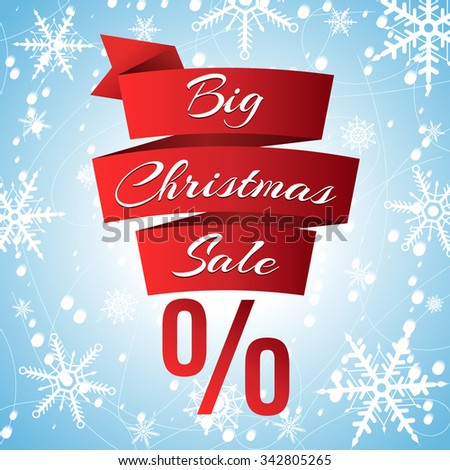 Abstract red ribbon banner for big winter sales. Winter icy background with falling snow and snowflakes. Vector illustration for your design - stock vector