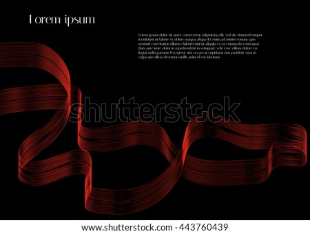 Abstract red ribbon on black background with sample text. For design magazines and leaflets - stock vector