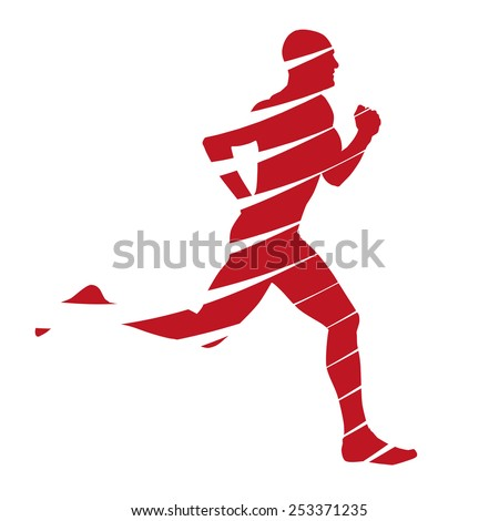 Abstract red runner silhouette - stock vector