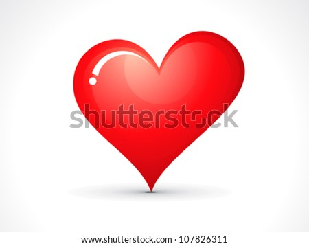 abstract red shiny heart icon vector illustration - stock vector