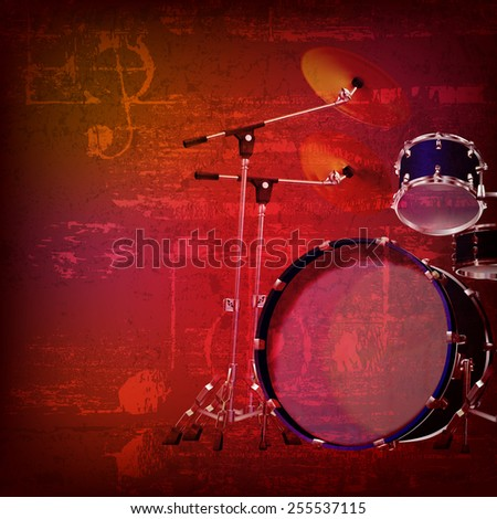 abstract red sound grunge background with drum kit - stock vector
