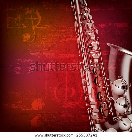 abstract red sound grunge background with saxophone - stock vector
