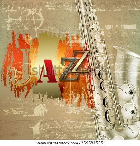 abstract red sound grunge background with saxophone and word Jazz - stock vector
