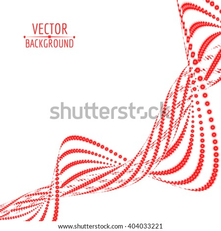 Abstract red spiral wave background. Vector illustration. - stock vector