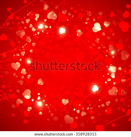Abstract  Red St.Valentine Day Heart  Background, Copyspace - stock vector