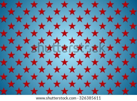 Abstract red stars on blue background. Vector Veterans Day design