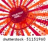 Abstract red summer background with rays - stock vector