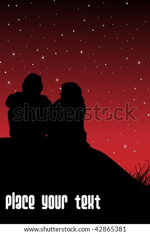 abstract red twinkle star background with couple sitting in night