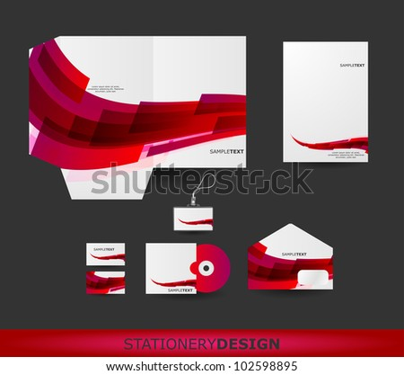 Abstract Red Wave Stationery design set in vector format - stock vector