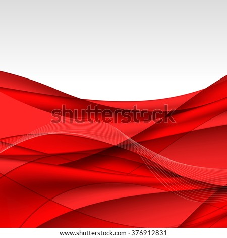 Abstract red waves - data stream concept. Vector illustration. Clip-art - stock vector