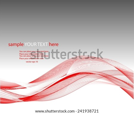 Abstract red waves on gray background - stock vector