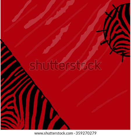 Abstract red zebra vector background. Textile Grunge style - stock vector