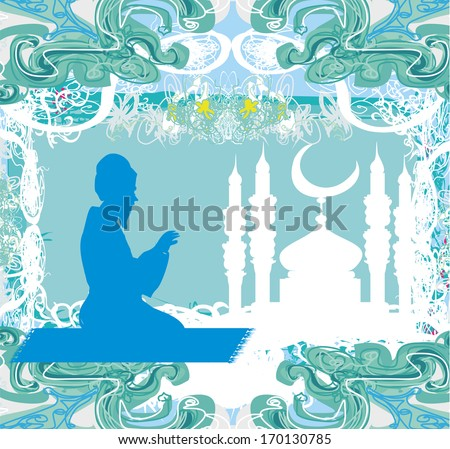abstract religious background - muslim man prays  - stock vector