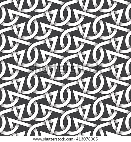 Abstract repeatable pattern background of white twisted bands with black strokes. Swatch of shapes plexus in drops form. Seamless pattern in vintage style.