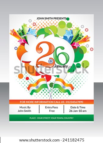 abstract republic day flyer template vector illustration - stock vector