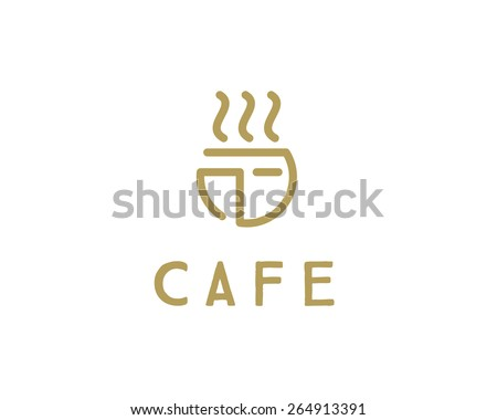 Abstract Restaurant Cafe Eatery Logo design template. Food Drink Industry Branding elegant premium icon logotype. Coffee Tea Noodles fast delivery - stock vector