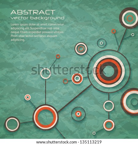 Abstract retro background of science with circles and lines. eps10 - stock vector