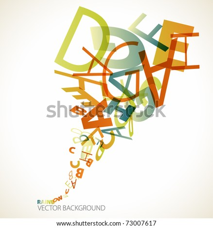 Abstract retro background with colorful letters - stock vector