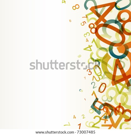 Abstract retro background with colorful rainbow numbers - stock vector