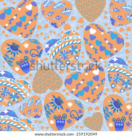 Abstract retro background with cute hearts, vector illustration - stock vector