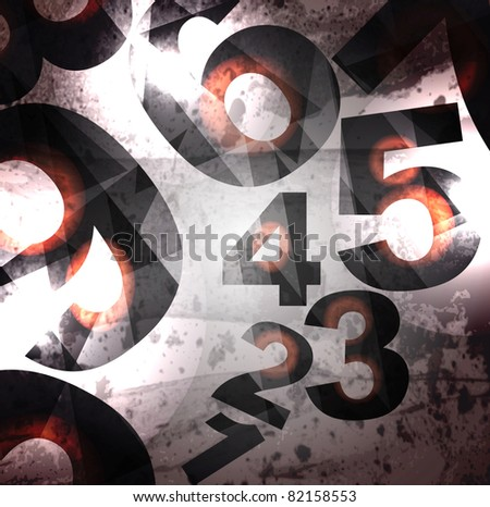 Abstract retro background with numbers - stock vector