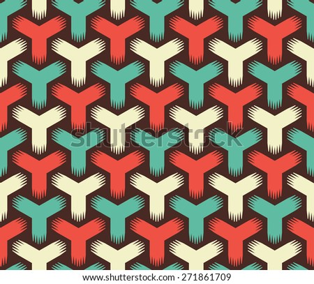 Abstract Retro Color Seamless Pattern - stock vector