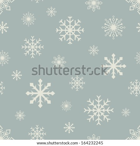 Abstract retro color seamless snowflake vector pattern. - stock vector
