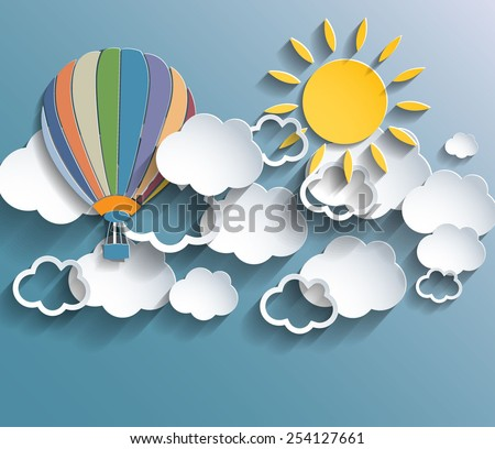 Abstract retro colors background with clouds, baloon and sun. Vector eps10. - stock vector
