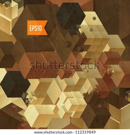Abstract retro cubes background, vector illustration - stock vector