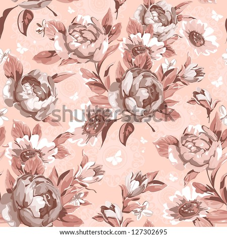 Abstract Retro floral seamless background. Beautiful vector illustration texture - stock vector