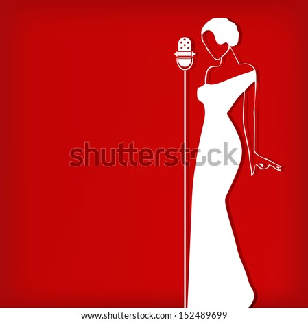 Abstract retro girl on red - vector illustration - stock vector