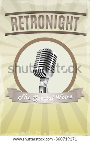 Abstract Retro microphone music background. Template, banner, poster  for music party. Vector illustration. - stock vector