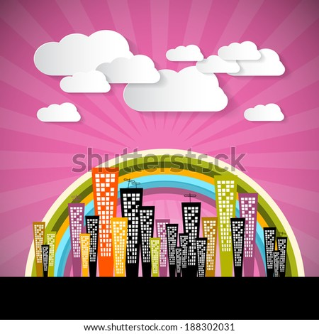 Abstract Retro Pink Background with Clouds and Houses - stock vector