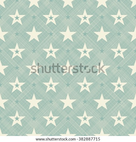 abstract  retro seamless pattern with stars on turquoise diagonal texture background - stock vector