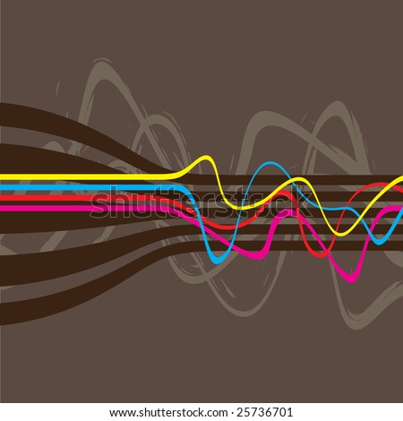 Abstract retro styled layout with wavy lines in a cmyk color scheme.  This vector image is fully editable. - stock vector