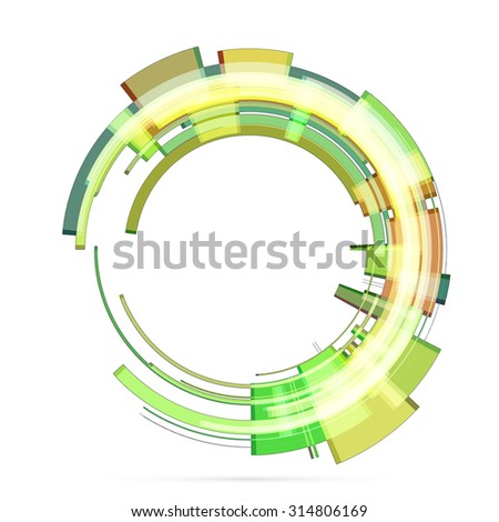 Abstract retro technology circle. Vector illustration. 2 - stock vector