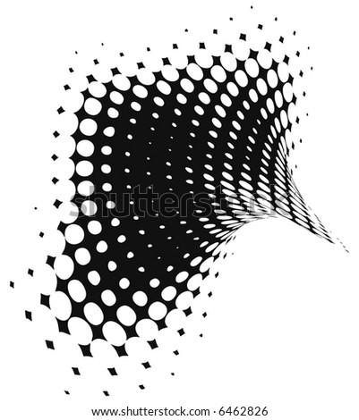 abstract retro vector dots halftone wave - stock vector