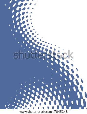 abstract retro vector dots halftone wave on blank page - stock vector