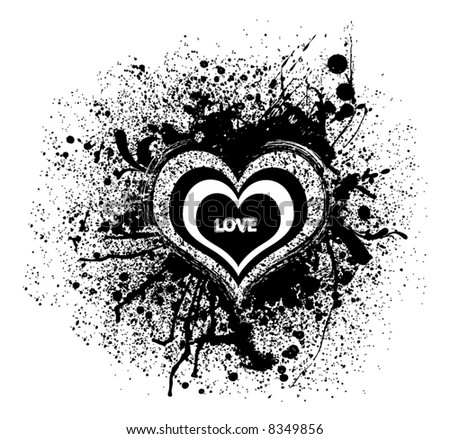 abstract retro vector hearts with splash stains - stock vector