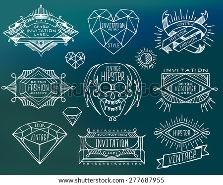 Abstract  retro vintage design. Line labels, insignias, badges, frames, borders  - stock vector