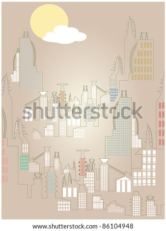 Abstract Rising Cityscape Bright Simple Sun Cloud vector illustration - stock vector
