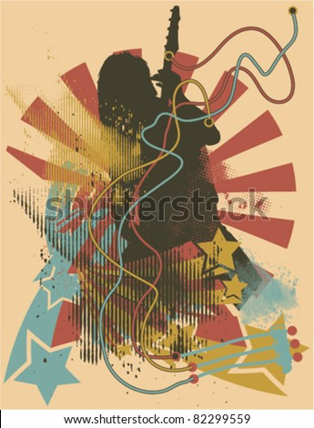 Abstract Rock music theme - stock vector