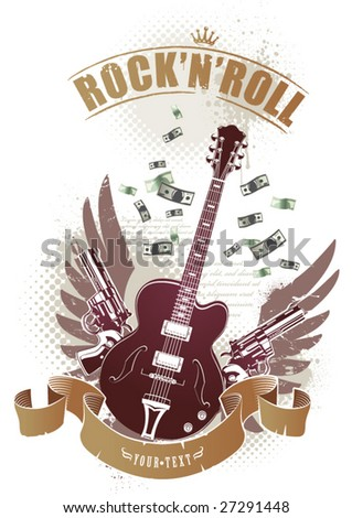 Abstract rock-n-roll image with two revolvers, guitar, ribbon and money - stock vector